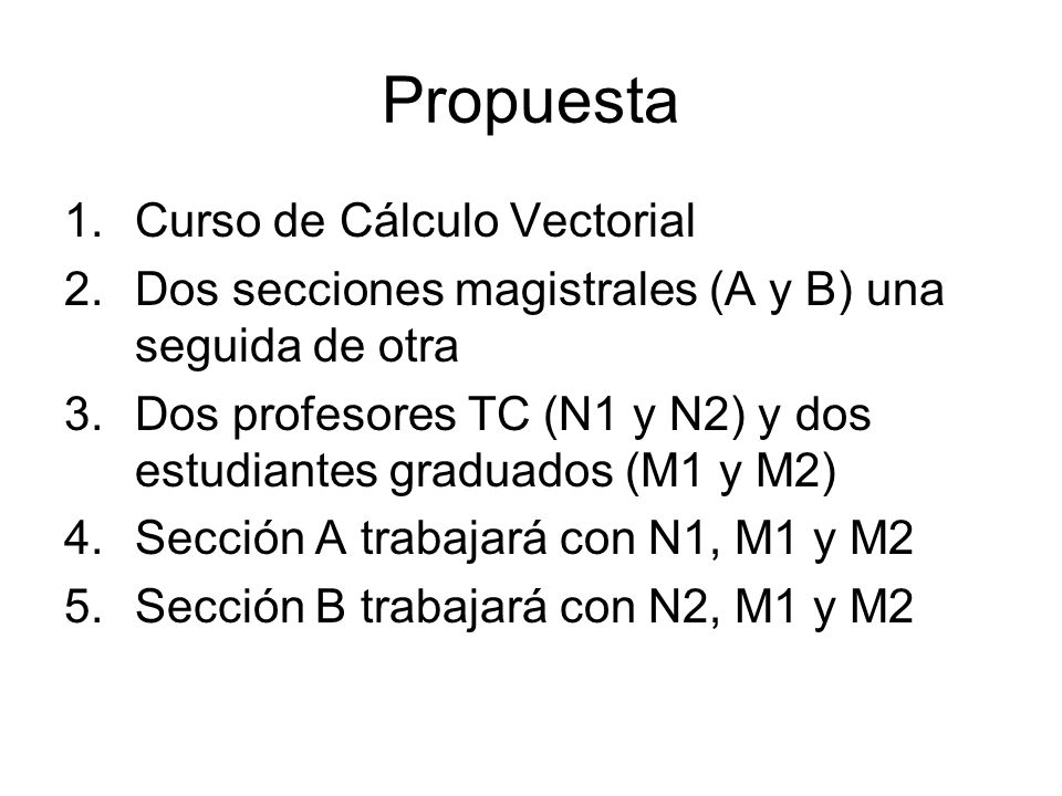 Propuesta Curso de Cálculo Vectorial