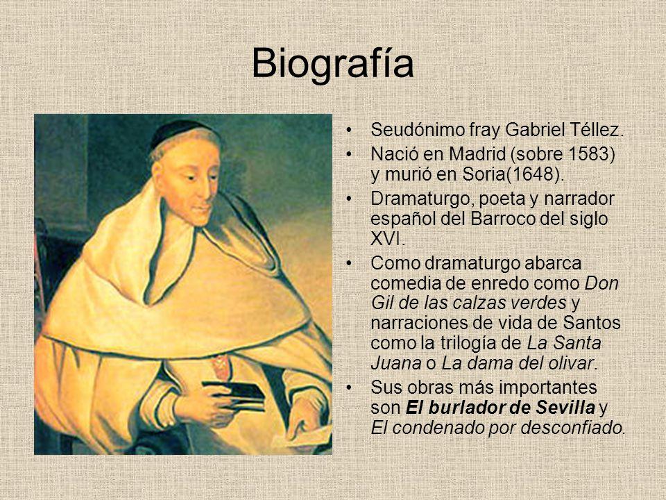 Biografía Seudónimo fray Gabriel Téllez.