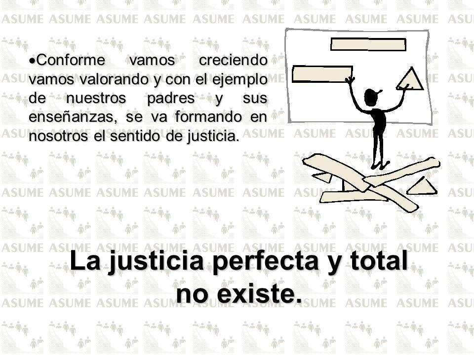 La justicia perfecta y total no existe.