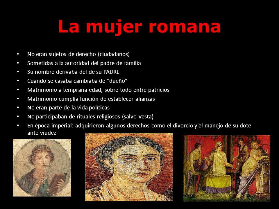 La mujer romana No eran sujetos de derecho (ciudadanos)
