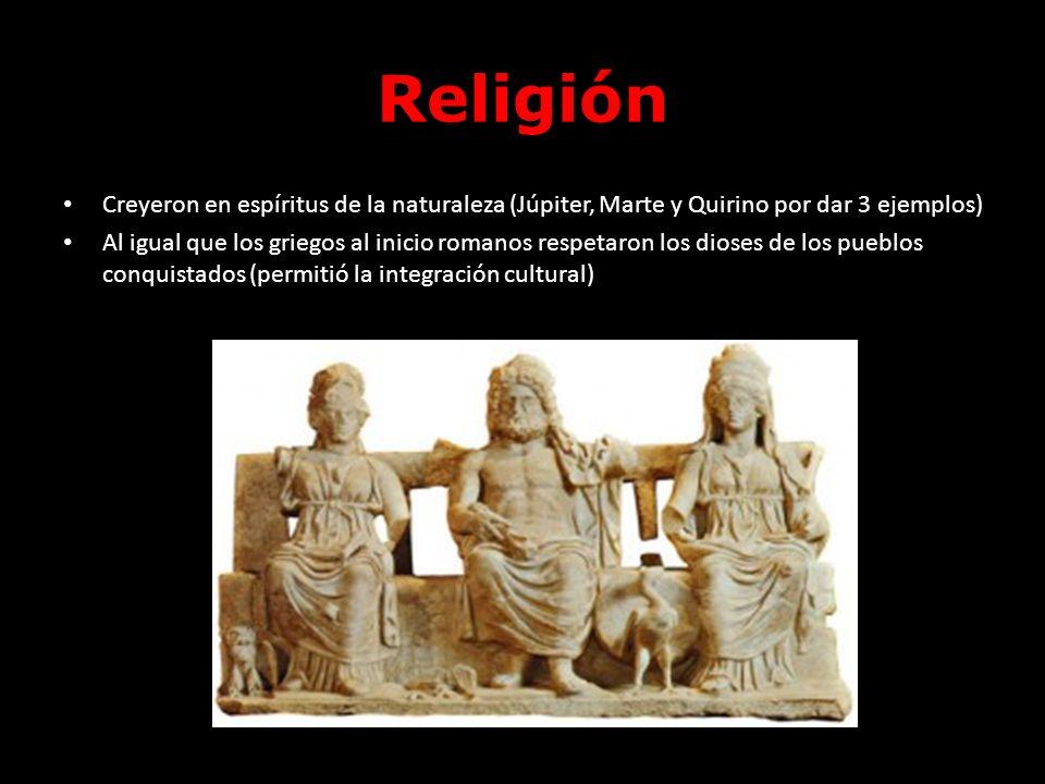 Religión Creyeron en espíritus de la naturaleza (Júpiter, Marte y Quirino por dar 3 ejemplos)
