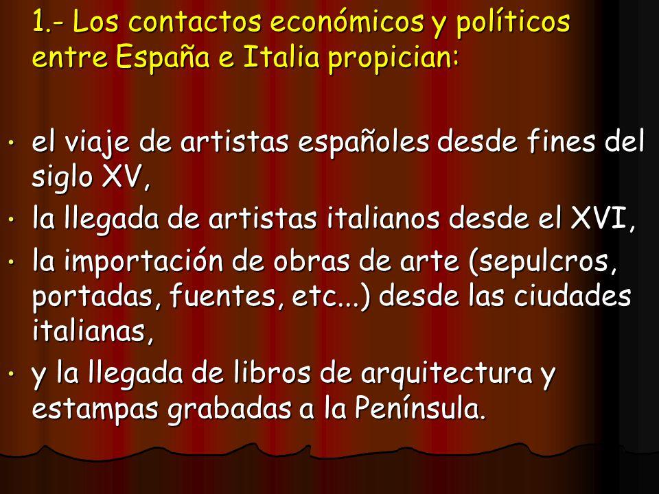 1.- Los contactos económicos y políticos entre España e Italia propician: