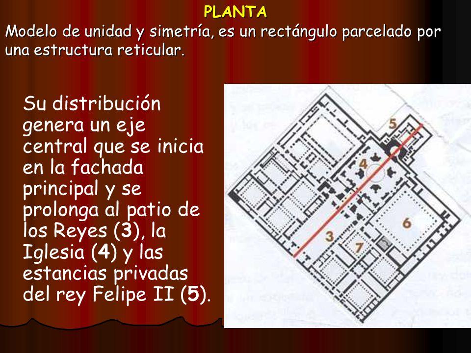 PLANTA Modelo de unidad y simetría, es un rectángulo parcelado por una estructura reticular.