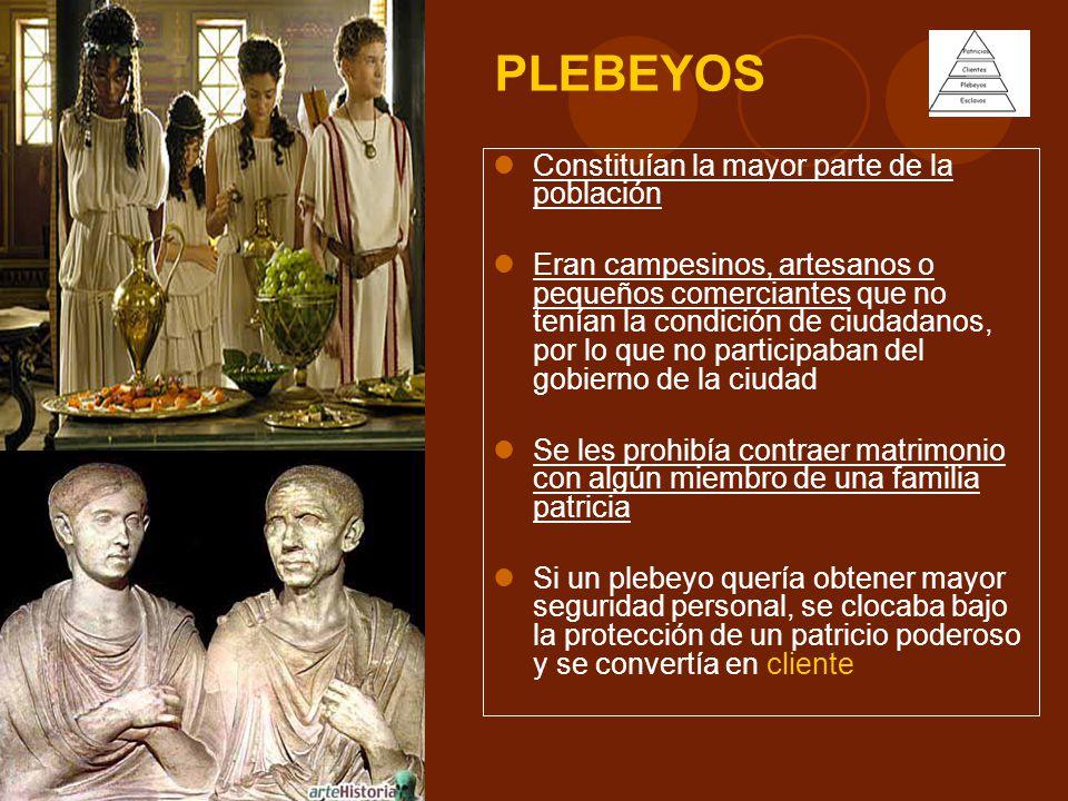PLEBEYOS Constituían la mayor parte de la población