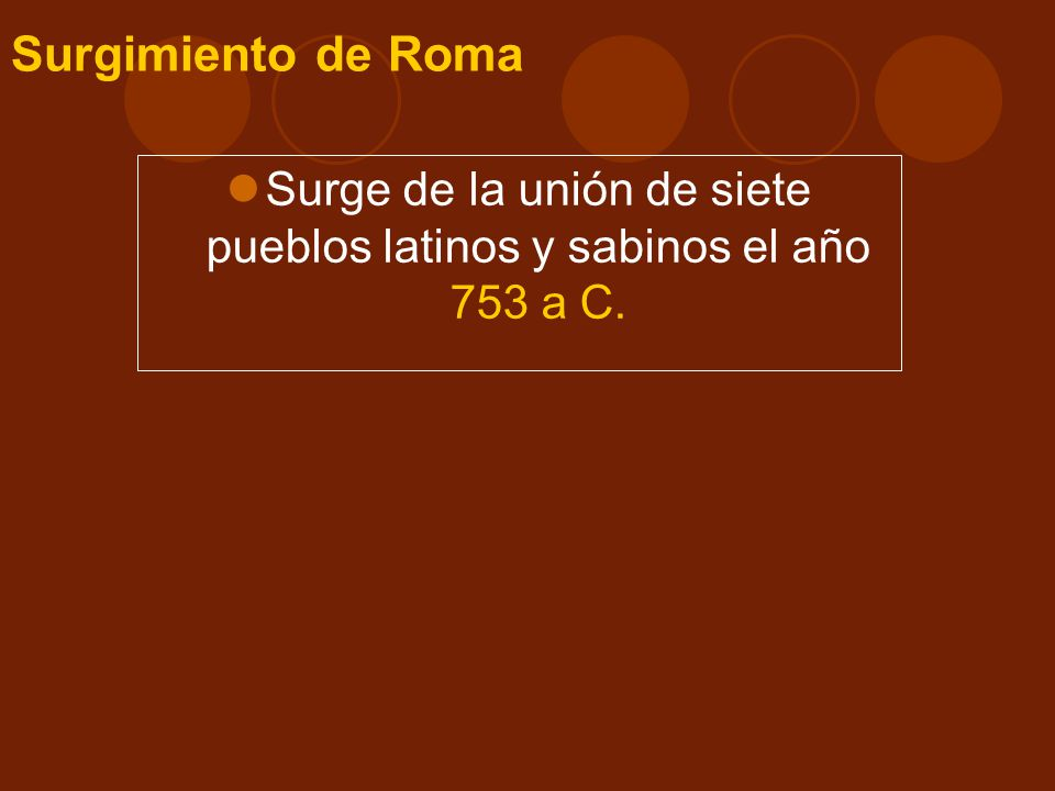 Surge de la unión de siete pueblos latinos y sabinos el año 753 a C.