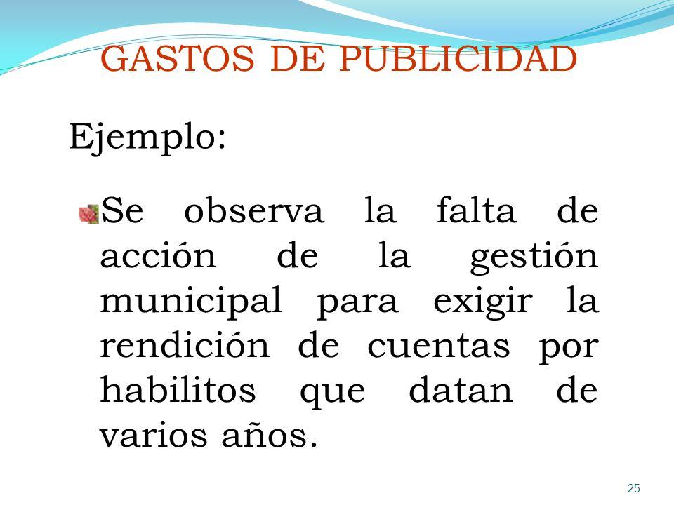 GASTOS DE PUBLICIDAD Ejemplo: