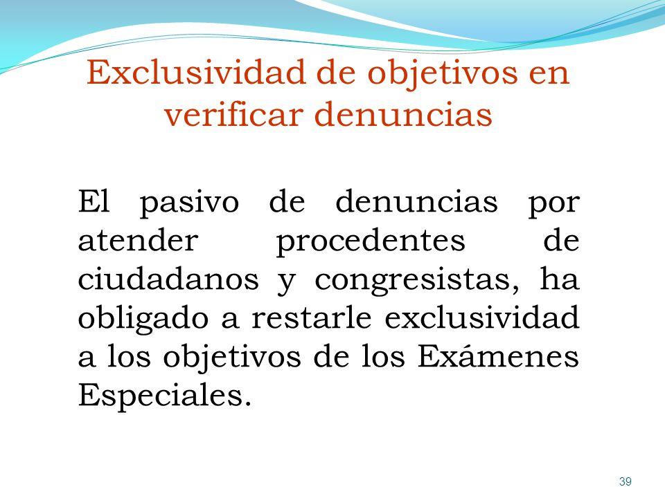 Exclusividad de objetivos en verificar denuncias