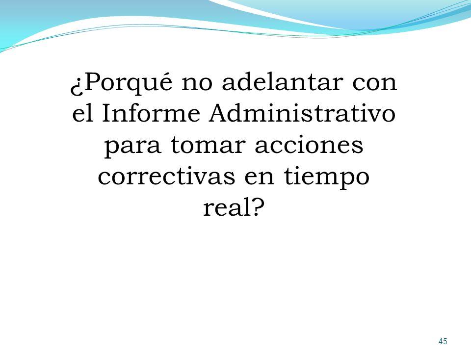 ¿Porqué no adelantar con el Informe Administrativo para tomar acciones correctivas en tiempo real