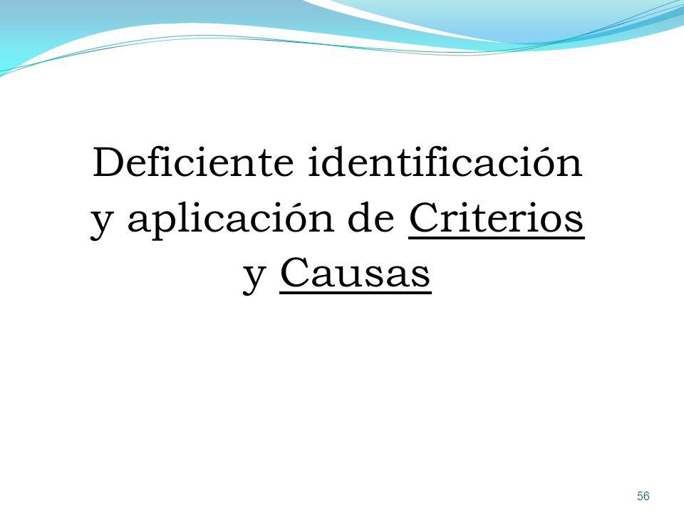 Deficiente identificación y aplicación de Criterios y Causas