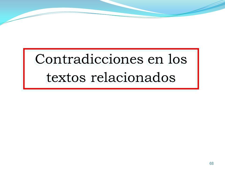 Contradicciones en los textos relacionados