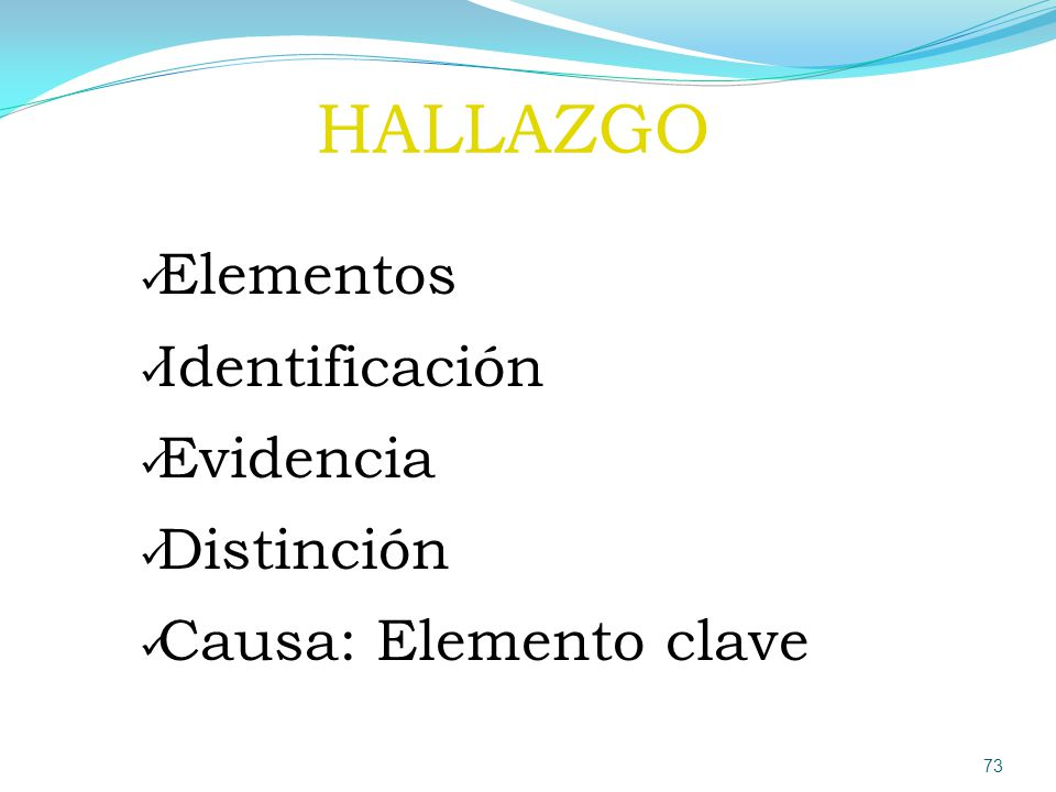 HALLAZGO Elementos Identificación Evidencia Distinción