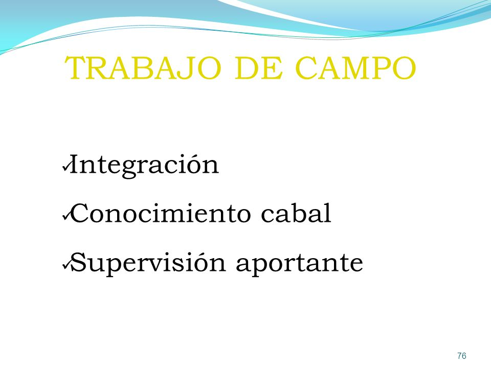 TRABAJO DE CAMPO Integración Conocimiento cabal Supervisión aportante