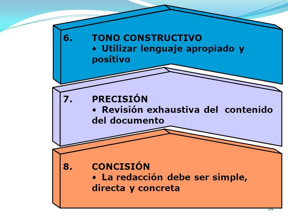 6. TONO CONSTRUCTIVO Utilizar lenguaje apropiado y. positivo. 7. PRECISIÓN. Revisión exhaustiva del contenido.