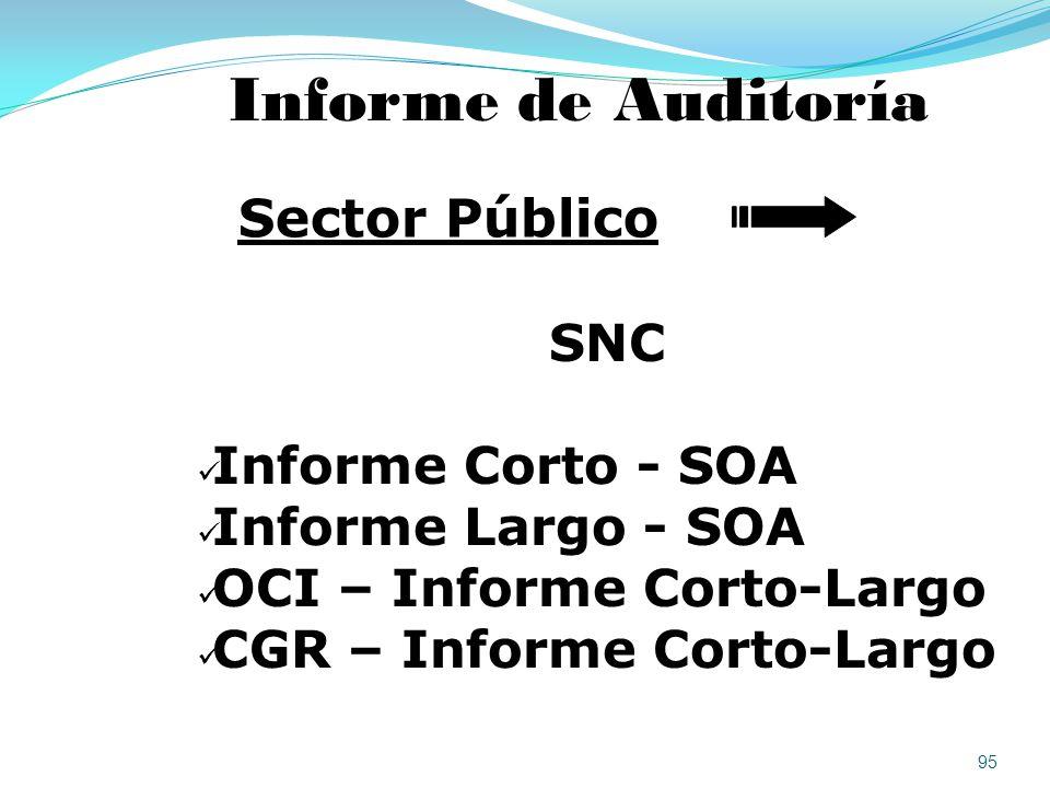 Informe de Auditoría Sector Público SNC Informe Corto - SOA