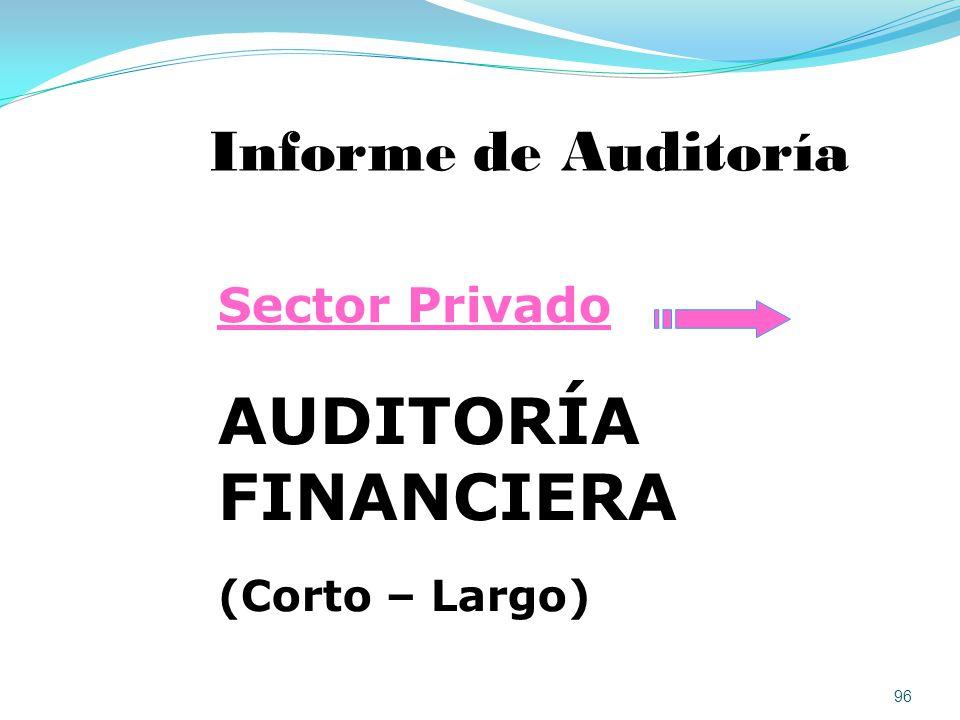 AUDITORÍA FINANCIERA Informe de Auditoría Sector Privado