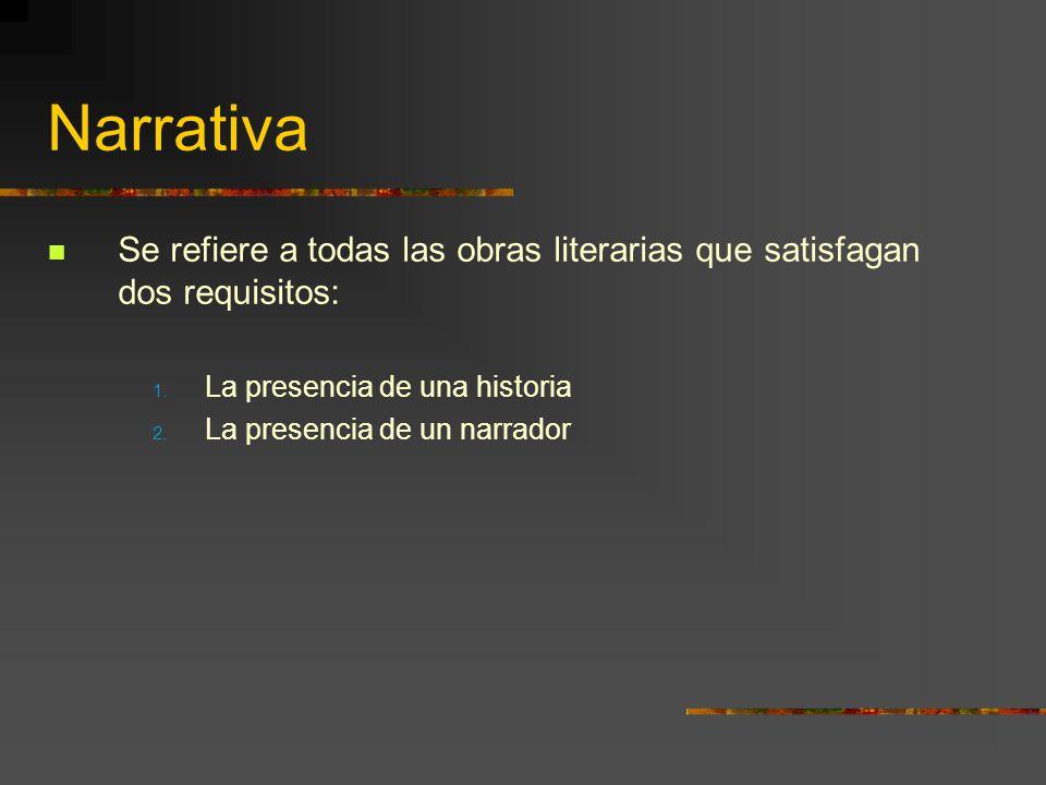 Narrativa Se refiere a todas las obras literarias que satisfagan dos requisitos: La presencia de una historia.