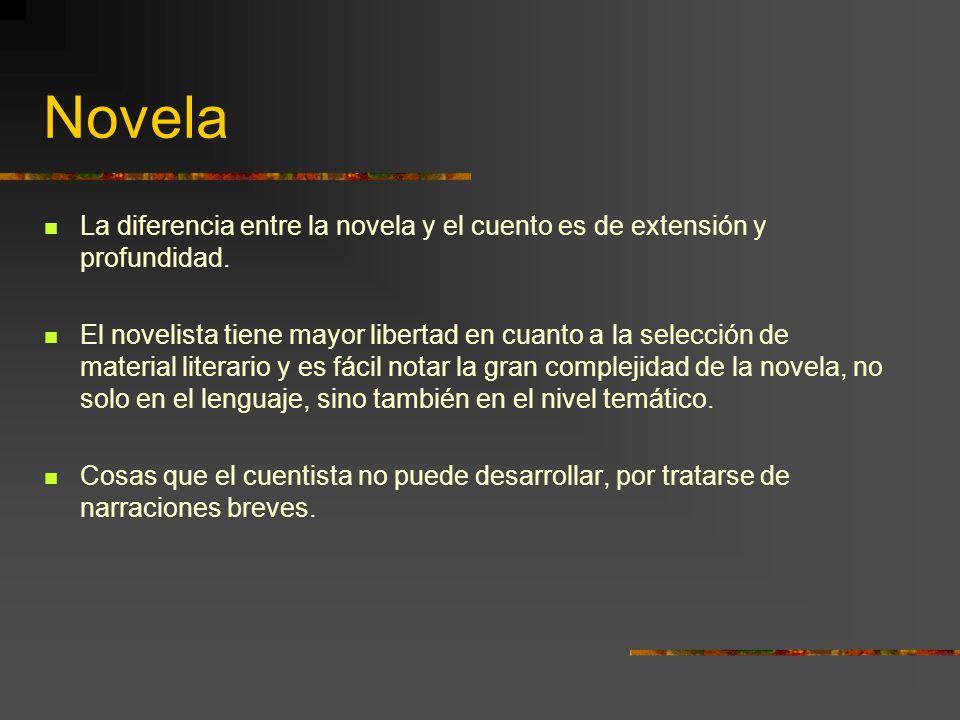Novela La diferencia entre la novela y el cuento es de extensión y profundidad.