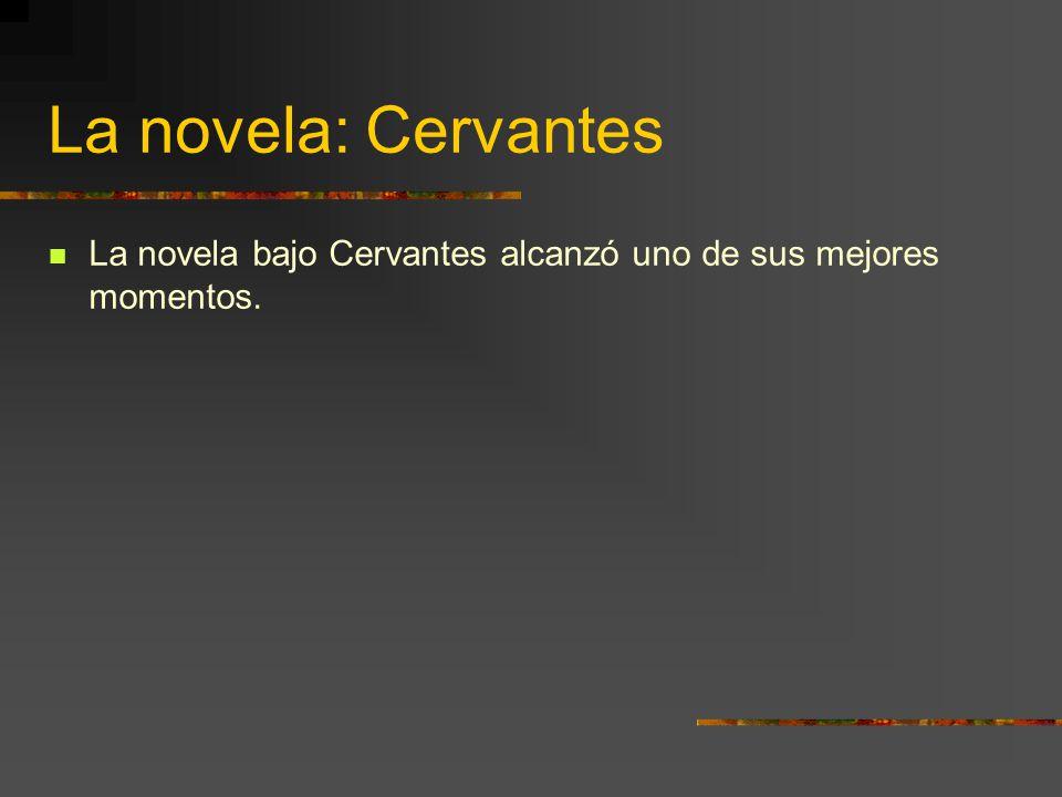 La novela: Cervantes La novela bajo Cervantes alcanzó uno de sus mejores momentos.