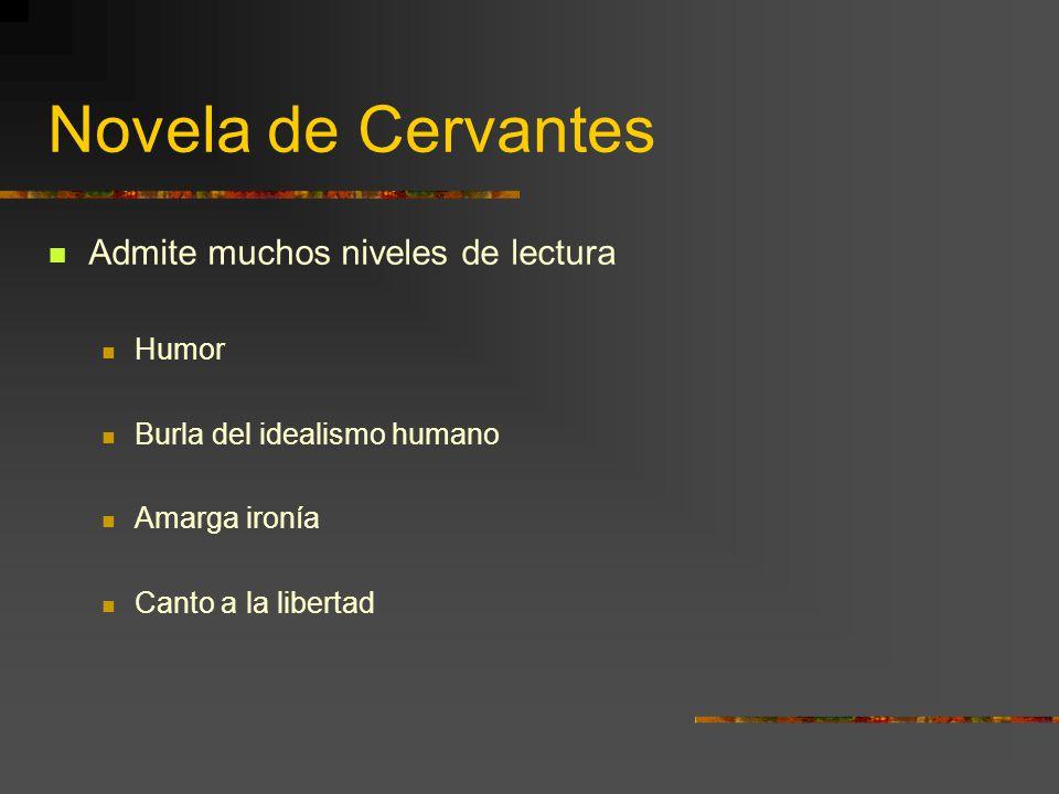 Novela de Cervantes Admite muchos niveles de lectura Humor
