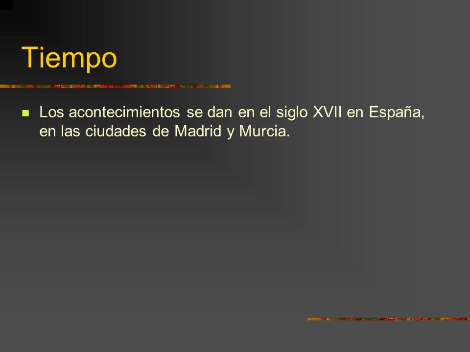 Tiempo Los acontecimientos se dan en el siglo XVII en España, en las ciudades de Madrid y Murcia.