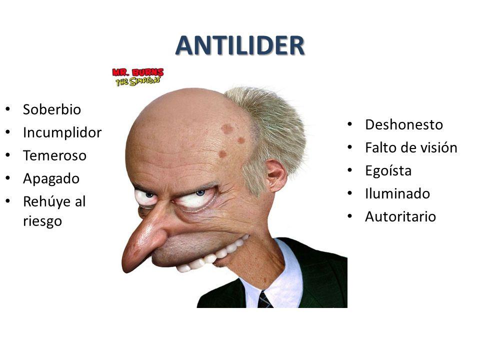 ANTILIDER Soberbio Incumplidor Deshonesto Temeroso Falto de visión