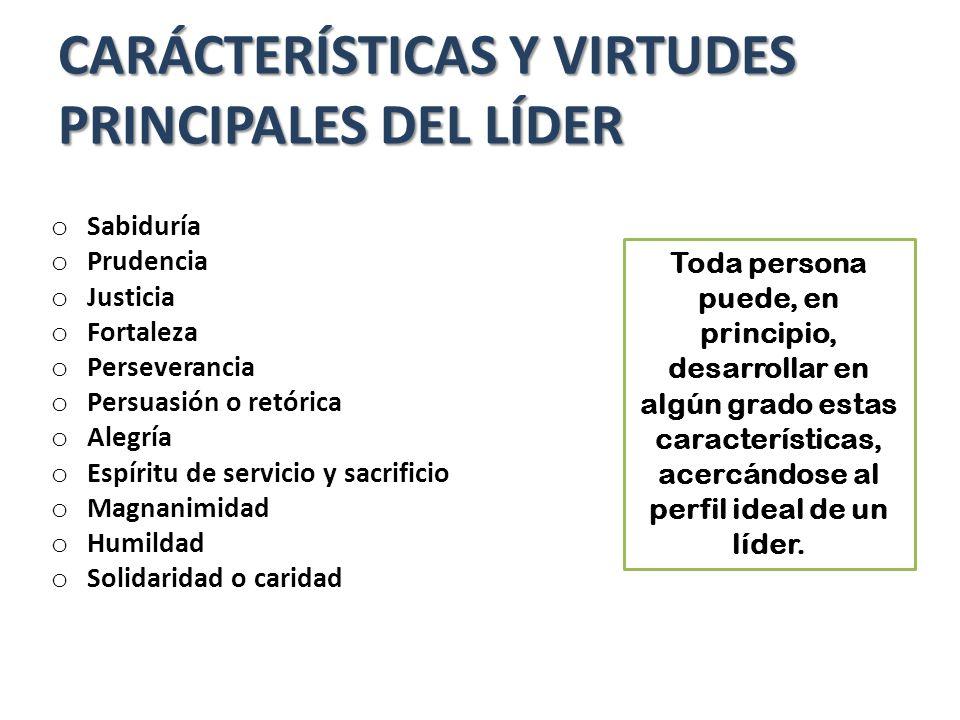 CARÁCTERÍSTICAS Y VIRTUDES PRINCIPALES DEL LÍDER