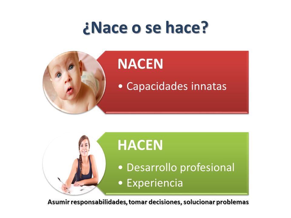 ¿Nace o se hace NACEN. Capacidades innatas. HACEN. Desarrollo profesional. Experiencia.