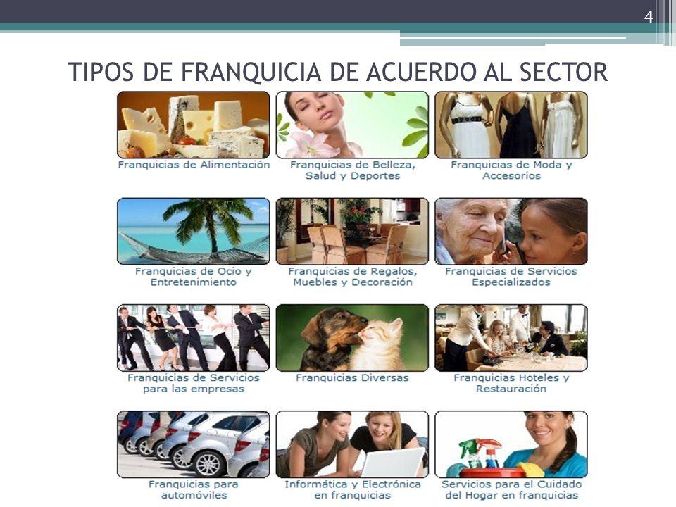 TIPOS DE FRANQUICIA DE ACUERDO AL SECTOR