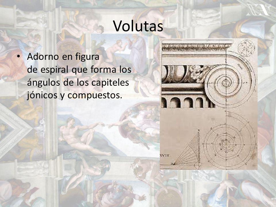 Volutas Adorno en figura de espiral que forma los ángulos de los capiteles jónicos y compuestos.