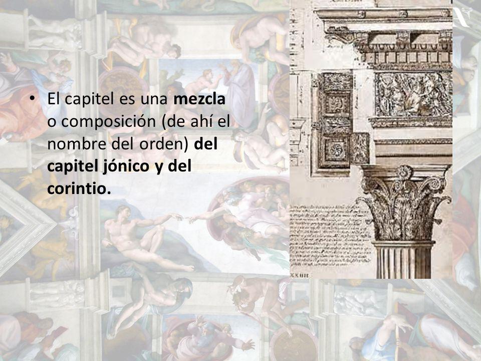 El capitel es una mezcla o composición (de ahí el nombre del orden) del capitel jónico y del corintio.