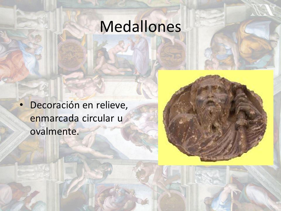 Medallones Decoración en relieve, enmarcada circular u ovalmente.