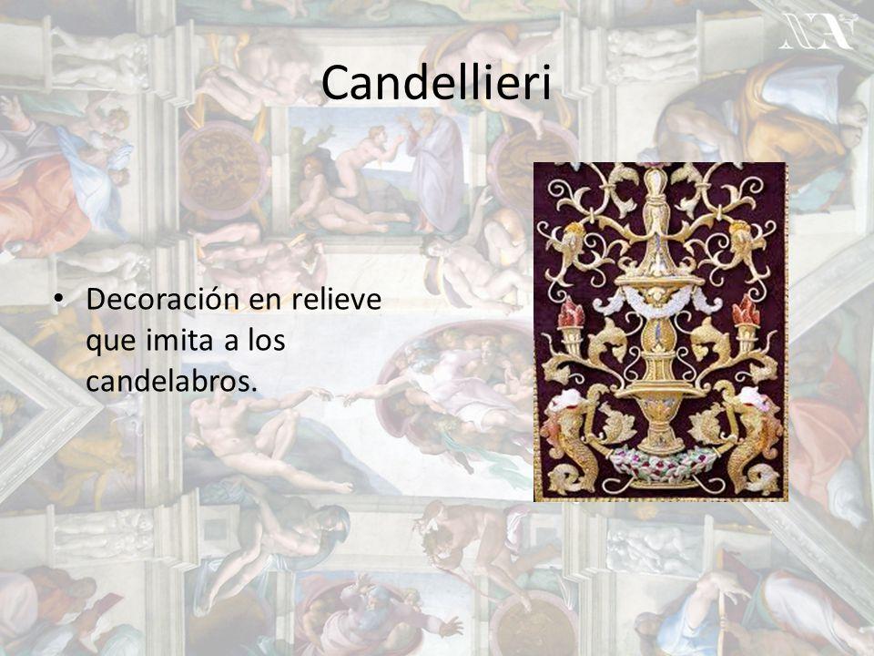 Candellieri Decoración en relieve que imita a los candelabros.