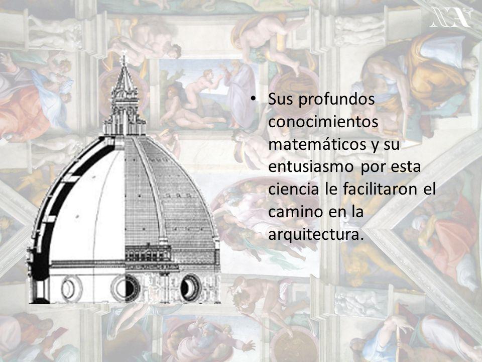 Sus profundos conocimientos matemáticos y su entusiasmo por esta ciencia le facilitaron el camino en la arquitectura.