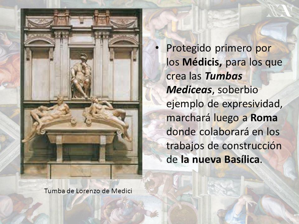 Protegido primero por los Médicis, para los que crea las Tumbas Mediceas, soberbio ejemplo de expresividad, marchará luego a Roma donde colaborará en los trabajos de construcción de la nueva Basílica.