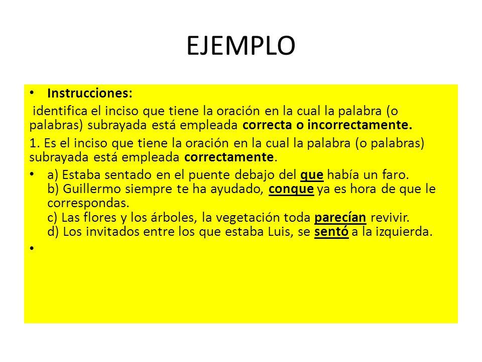 EJEMPLO Instrucciones: