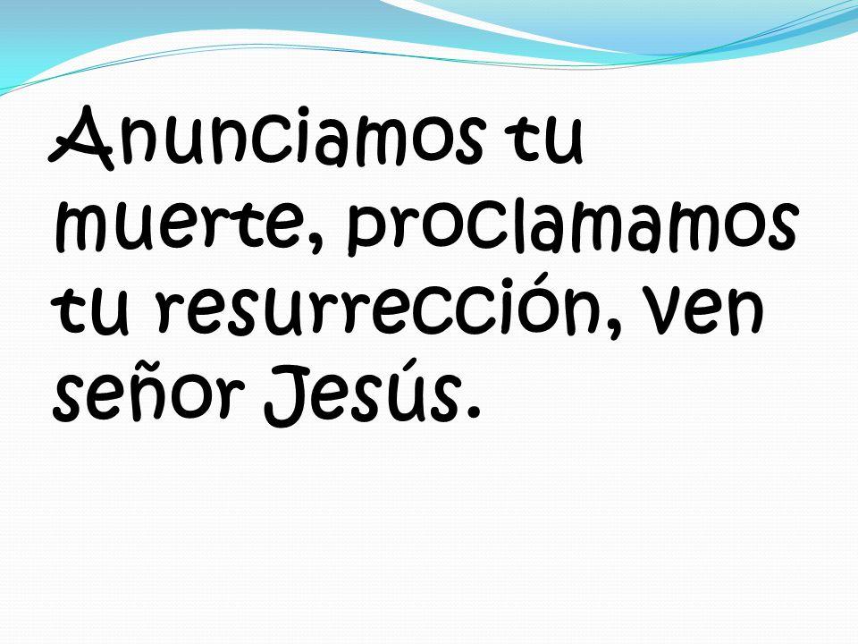 Anunciamos tu muerte, proclamamos tu resurrección, ven señor Jesús.