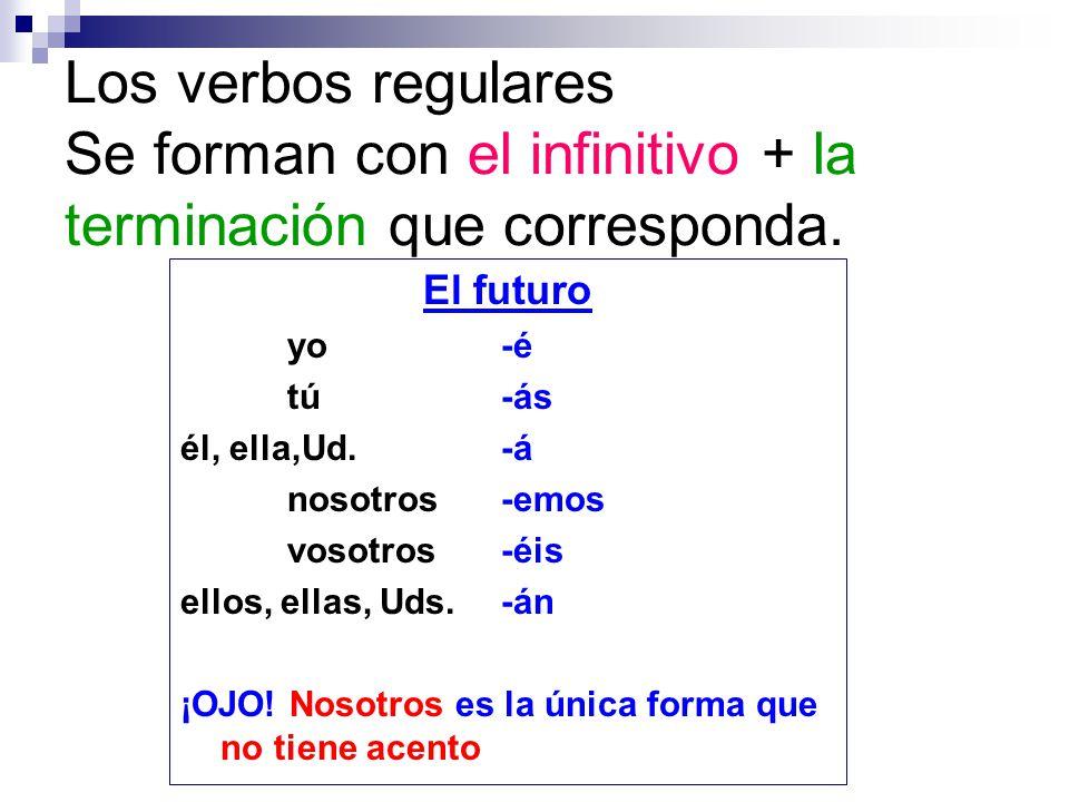 Los verbos regulares Se forman con el infinitivo + la terminación que corresponda.