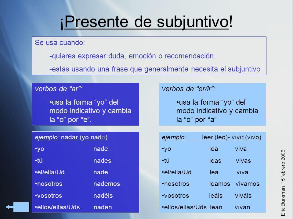 ¡Presente de subjuntivo!