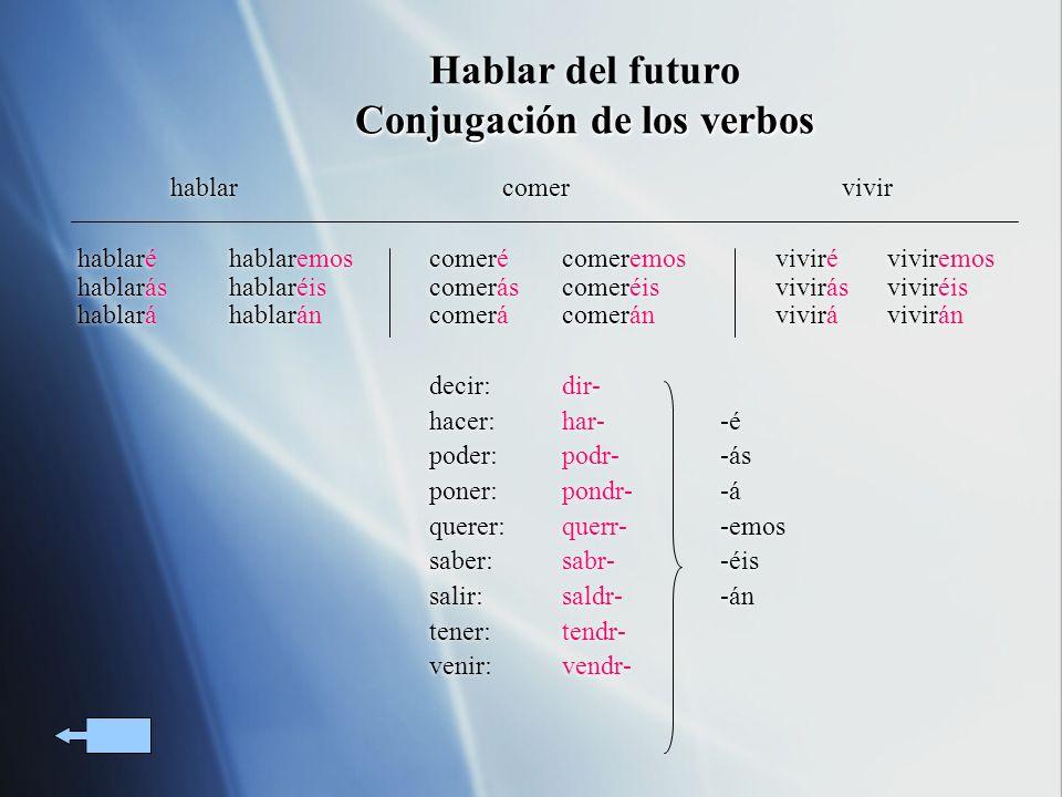 Hablar del futuro Conjugación de los verbos