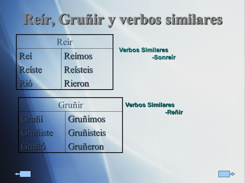 Reír, Gruñir y verbos similares