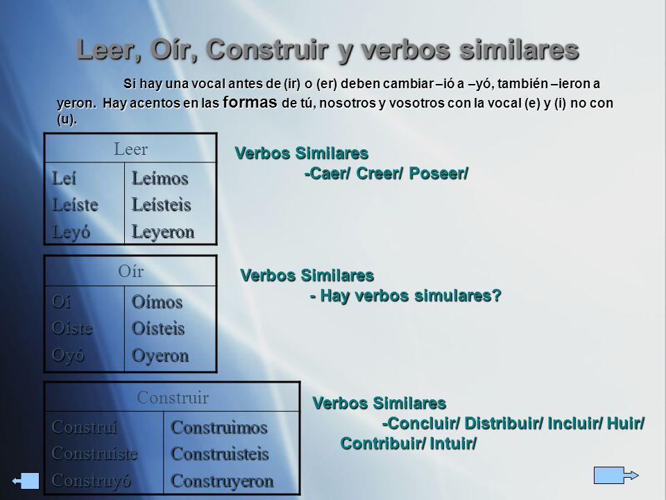 Leer, Oír, Construir y verbos similares
