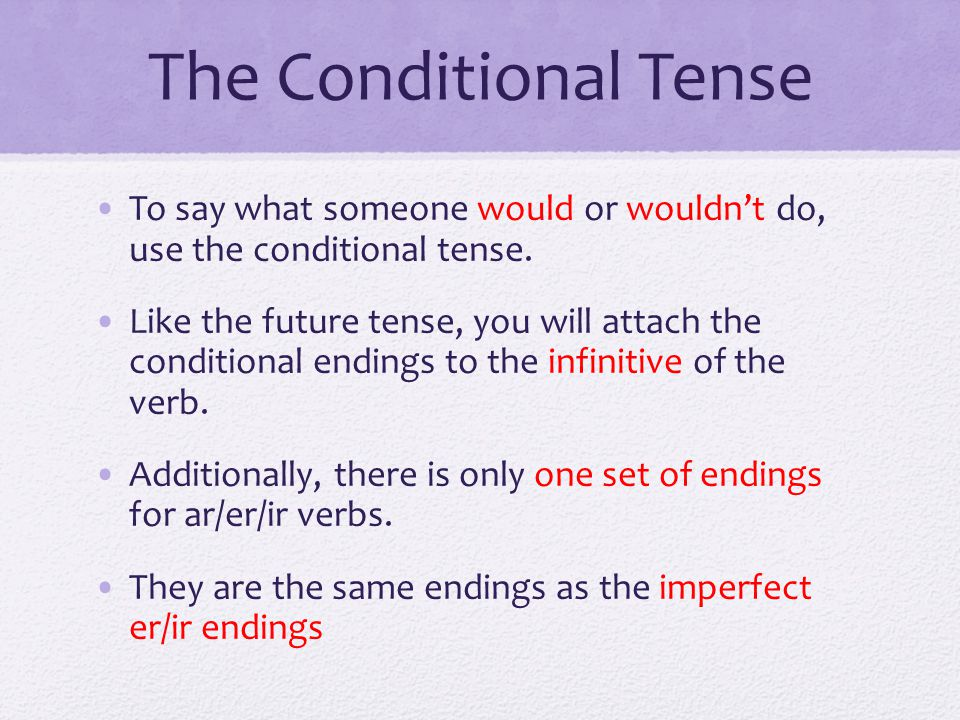 The Conditional Tense To say what someone would or wouldn't do, use the conditional tense.