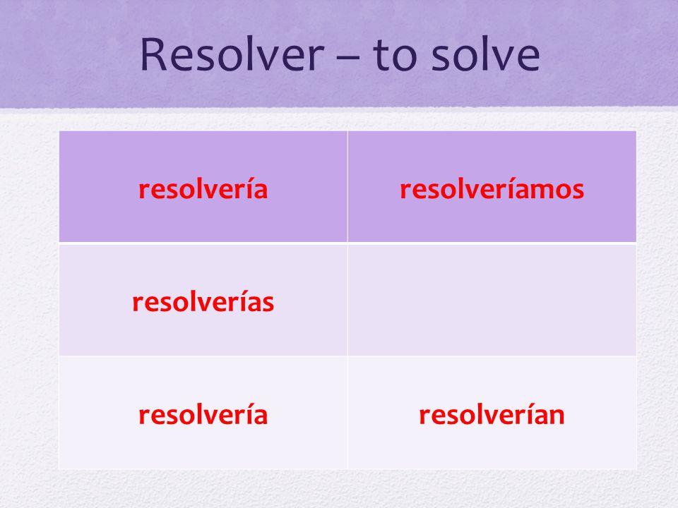 Resolver – to solve resolvería resolveríamos resolverías resolverían