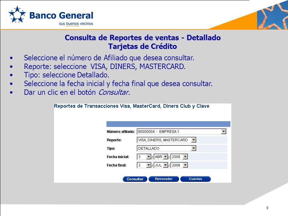 Consulta de Reportes de ventas - Detallado