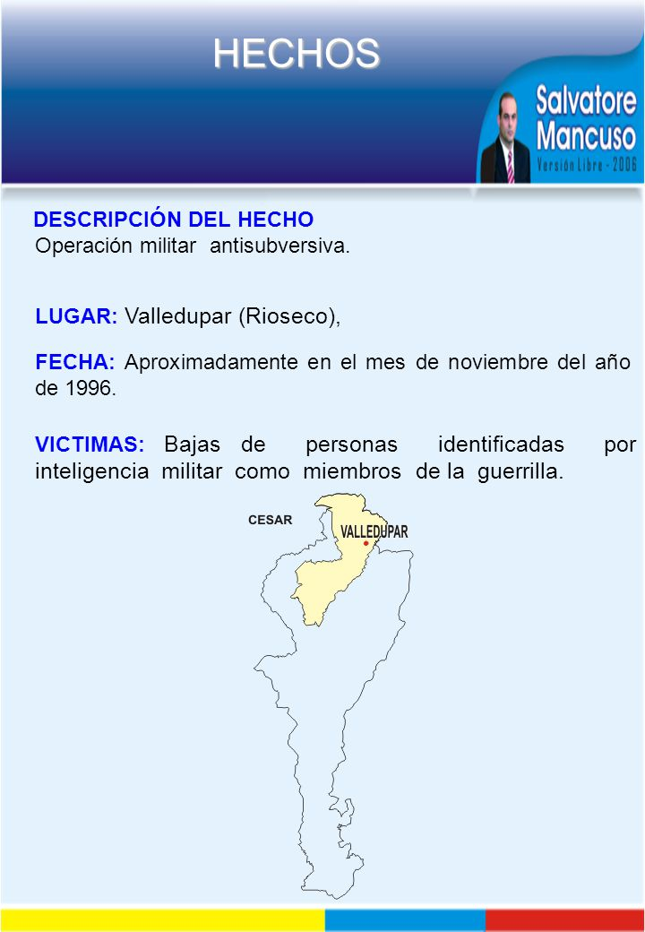 DESCRIPCIÓN DEL HECHO Operación militar antisubversiva. LUGAR: Valledupar (Rioseco),