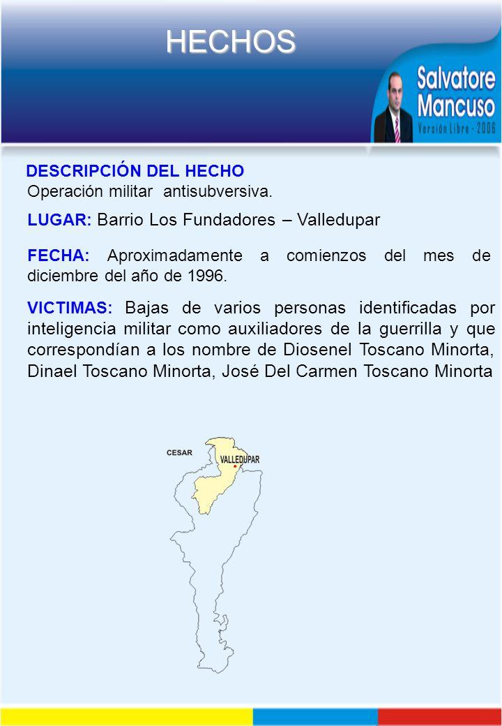 DESCRIPCIÓN DEL HECHO Operación militar antisubversiva. LUGAR: Barrio Los Fundadores – Valledupar.