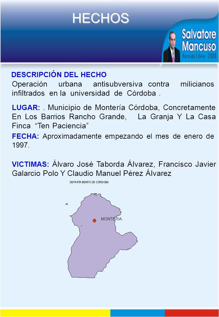 DESCRIPCIÓN DEL HECHO Operación urbana antisubversiva contra milicianos infiltrados en la universidad de Córdoba .