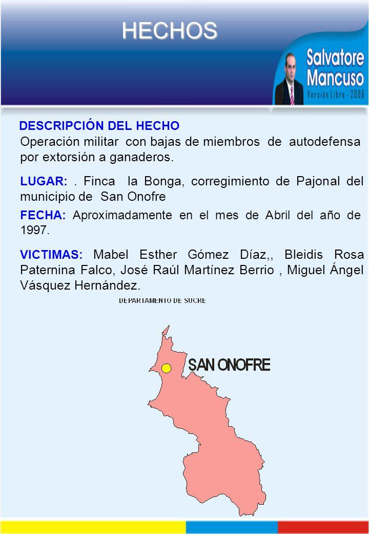 DESCRIPCIÓN DEL HECHO Operación militar con bajas de miembros de autodefensa por extorsión a ganaderos.