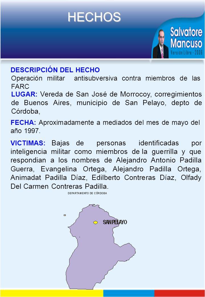 DESCRIPCIÓN DEL HECHO Operación militar antisubversiva contra miembros de las FARC.