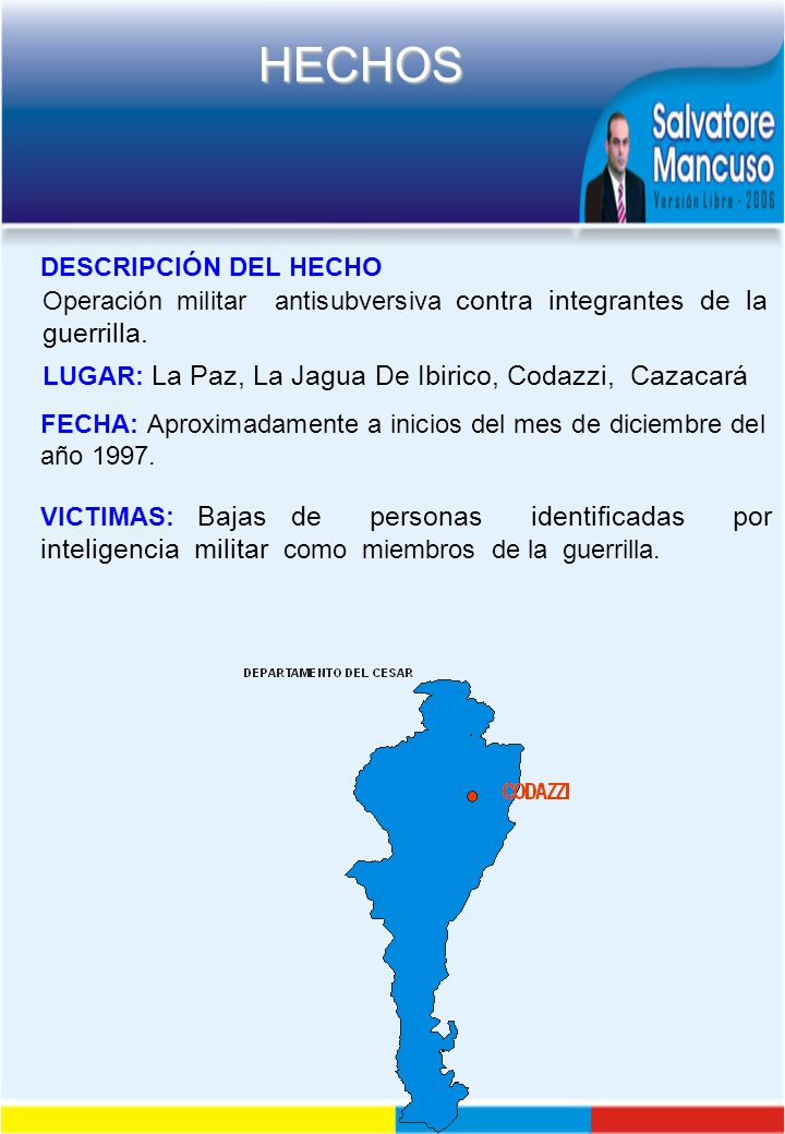 DESCRIPCIÓN DEL HECHO Operación militar antisubversiva contra integrantes de la guerrilla. LUGAR: La Paz, La Jagua De Ibirico, Codazzi, Cazacará.